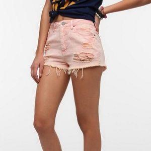 UO BDG High Rise Dree Cheeky Pink Cutoff Shorts 29